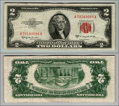 1953C $2 Dollar Bill Old Us Note Legal Tender Paper Money Currency Red Seal P571