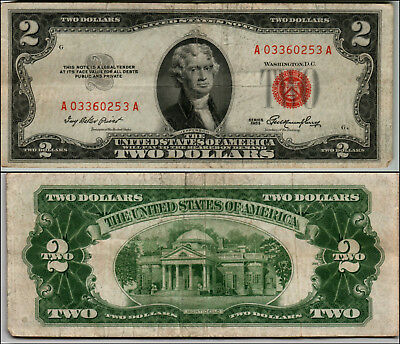 1953 $2 Dollar Bill Old Us Note Legal Tender Paper Money Currency Red Seal Q817