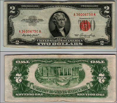 1953 $2 Dollar Bill Old Us Note Legal Tender Paper Money Currency Red Seal P116