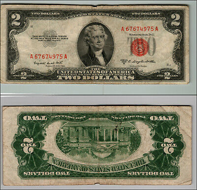 1953B $2 Dollar Bill Old Us Note Legal Tender Paper Money Currency Red Seal P55