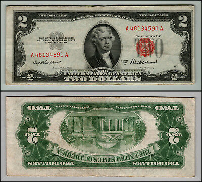 1953A $2 DOLLAR BILL OLD US NOTE LEGAL TENDER PAPER MONEY CURRENCY RED SEAL p633