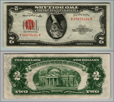 1953B $2 Dollar Bill Old Us Note Legal Tender Paper Money Currency Red Seal Z806