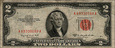 1953B $2 Dollar Bill Old Us Note Legal Tender Paper Money Currency Red Seal Q-3