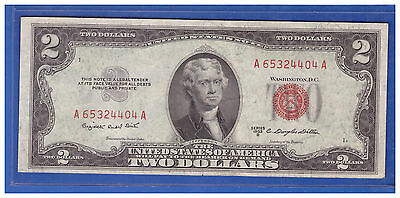 1953B $2 Dollar Bill Old Us Note Legal Tender Paper Money Currency Red Seal T341