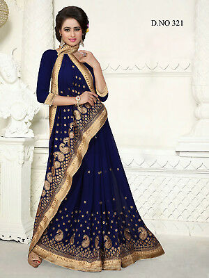 Indian Bollywood Style Exclusive Navy Blue Georgette Party Wear Wedding Saree