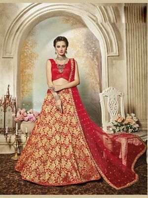 Designer Red Beige Embroidered Bollywood Pure Silk Jacquard Wedding Wear Lehenga