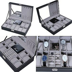 Jewelry Box with Lock Mirror Watch Rings Organizer Storage Leather Unisex Men