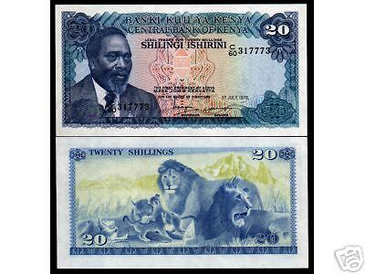 Kenya 20 Shillings P17 1978 Lion Kenyatta Unc Currency Money Animal Bank Note