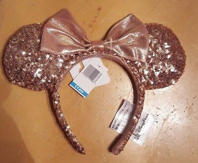 NWT Authentic Disney Parks Minnie Mouse Rose Gold Champagne Ears Hard to Find