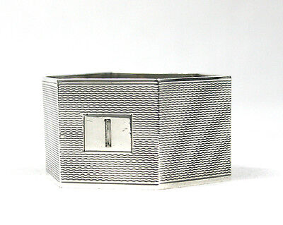 Vintage Sterling Silver Napkin Ring Hexagonal Engine Turned Birmingham 1963 22 g