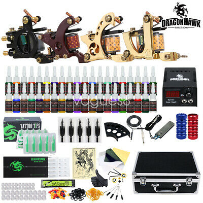 Beginner Tattoo Kit 4 Machine Gun 40 color Ink Power supply needle Grip Tip set