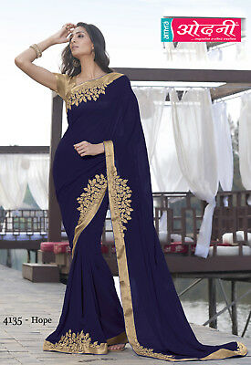Indian Blue Designer Embroidered Bollywood Style Sari Georgette Party Wear Saree