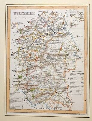 c1850 ANTIQUE MAP - MOUNTED - WILTSHIRE - HAND COLOURED DETAIL