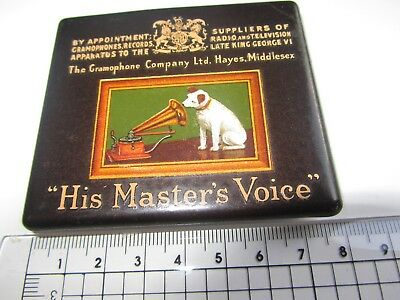 HMV His Master's Voice original metal plate logo nameplate very nice condition