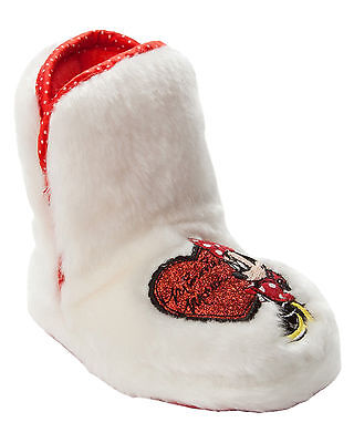 Girls Official Disney Minnie Mouse White Faux Fur Bootie Slippers Uk Size 8-12