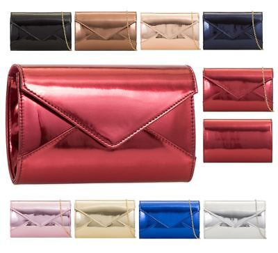 New Shiny Patent Leather Party Evening Ladies Small Clutch Bag Handbag