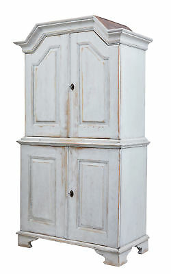 19Th Century Swedish Painted Pine Tall Cupboard