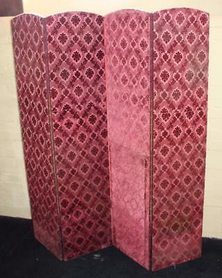 Antique Four Fold Upholstered Tapestry Room Divider Dressing Screen