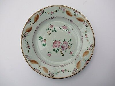 Antique Chinese export porcelain plate c1770, famille rose hand painted