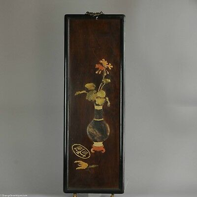 Antique Chinese Wooden Wall Panels Stone Vase Flower Inlay Applique China 2/4