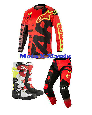 New Alpinestars Braap Combo Jersey Pants BLK Red Flo Tech 3 Boot Red BK Kit Xmas