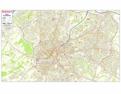 Large Laminated Postcode Wall Poster Map Of Bristol City Centre Area