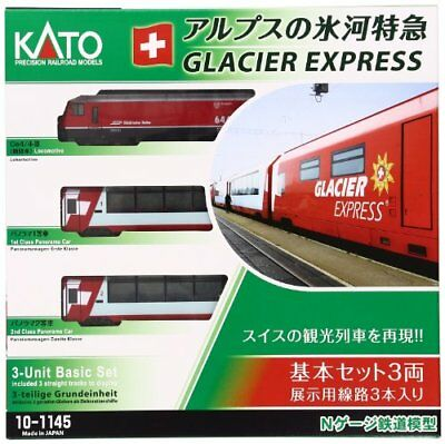 KATO 10-1145 Alps Glacier Express Basic 3-Car Set Model Train with tracking