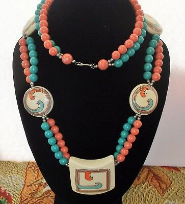 Vintage Faux Coral & Turquoise Lucite Double Strand Statement Necklace