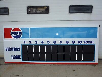 "Pepsi Cola Co Pm-1106 113-3/4"" X 46"" Aluminum Baseball / Softball Scoreboard!"