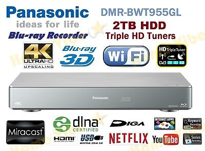Panasonic Smart 3D Blu-Ray Disc Dvd Recorder 4K 2Tb Hdd Triple Tuner Dmr-Bwt955