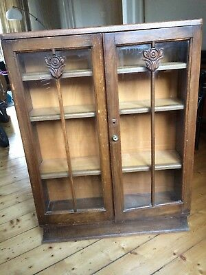 Edwardian display cabinet bookcase glass fronted antique