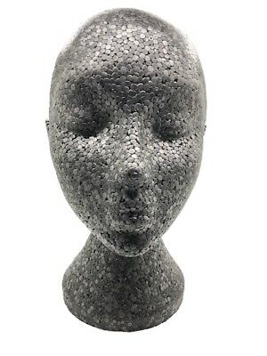 Black Polystyrene Mannequin Display Head - Ideal For Wigs, Scarfs, Hats