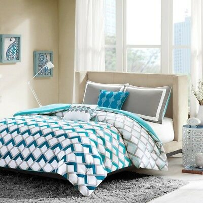 Posh Hues of Blue & Grey Geometric Comforter Set AND Decorative Pillows