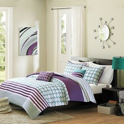 PosTeal & Grey Striped Geometric Reversible Comforter Set AND Decorative Pillows