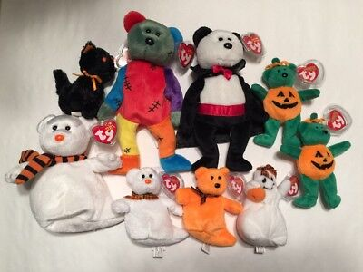 Ty Beanie Babies And Halloweenie Beanies, Halloween Ty Lot of 9 Pieces