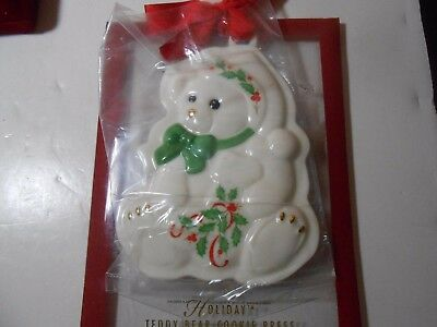 Lenox Christmas Porcelain Teddy Bear Decorated Ornament & Cookie Press Look Wow
