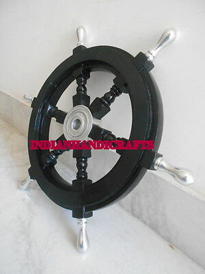 Ship Wheel 18 inch DECORATIVE ANTIQUE FOR COLLECTORS BLACK~SHIP EQUIPMENTS