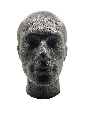 Polystyrene Male Mannequin Display Head Black Unique for Wigs Hats Multipurpose