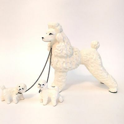 POODLE AND PUPPIES White Figurine Unique and Unusual Vintage-Maybe Korea