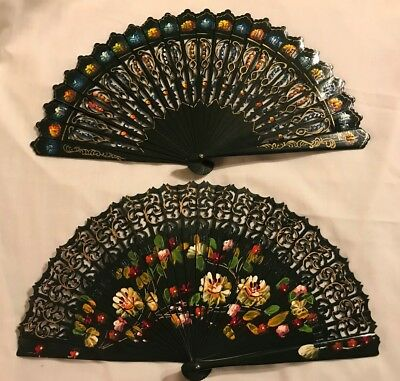 Hand Painted Spanish Folding Fans, Lot Of 2 Hand Fans, Shiny Black W/ Designs