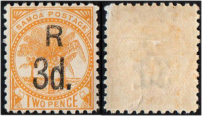 Samoa stamps.  1895 Registered Mail. Surcharged 3p n 2p. MH
