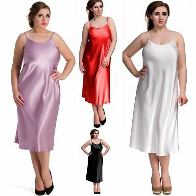 Nine X Womens Long Satin Chemise Plus Size Lingerie S-6XL Nightdress Babydoll