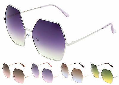 Wholesale Lots 12 Pairs Geometric Hexagon Sunglasses with Oceanic Color Lens