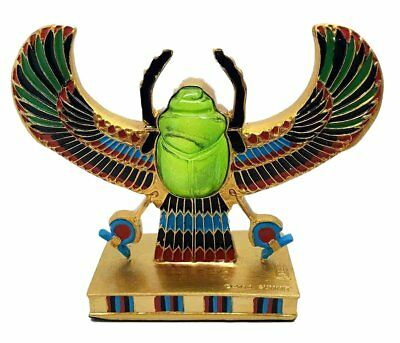Egyptian Beautiful Winged Scarab Amulet Ankh Symbol of Rebirth Figurine Statue