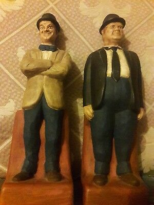 """Vintage Laurel and Hardy figure bookends by ceramichrome calif. 1973,91/2""""T&10"""""""