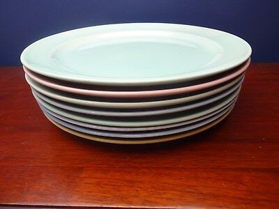 """Eight (8) LuRay Various Colors 9.25"""" Luncheon Plates~Taylor Smith & Taylor"""