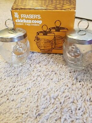 Pair of Vintage Glass Egg Coddlers in original box, FRASERS CHICKEN COOP