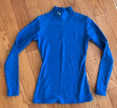 Under Armour Womens Coldgear Long Sleeve Mock Neck Shirt Size Small Blue
