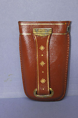 Vintage Genuine Cowhide Leather Key Case with Pull-Out Key Ring