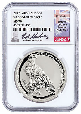 2017-P Australia 1 oz Silver Wedge-Tailed Eagle $1 NGC MS70 Harbuz SKU50543